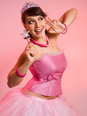The beautiful fairy on a pink background