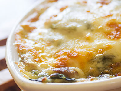 Spinach Gratin, Chuck Williams, spinach mushroom chard gratin, Williams-Sonoma recipe, Williams-Sonoma Cooking at Home