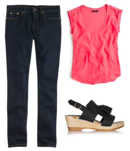 dark denim neon outfit