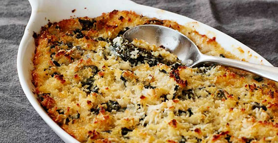 Kale Gratin recipe, Williams-Sonoma, Healthy in a Hurry
