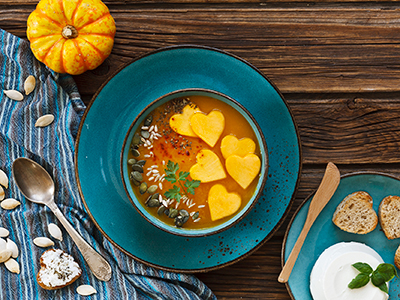 pumpkin soup representing fall cookbooks