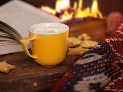 Book and mug of hot chocolate in front of a fire