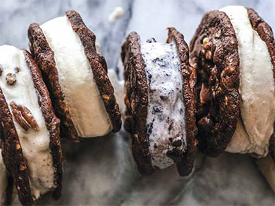 Chocolate Chocolate Chip Cookies with Hazelnuts ice cream sandwiches